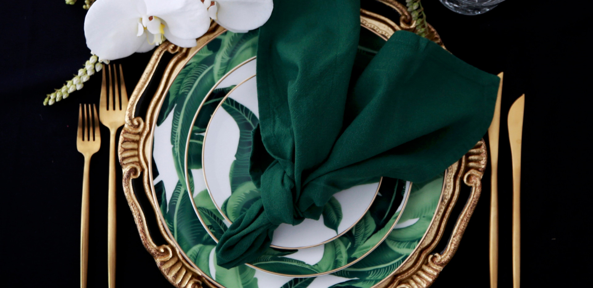 Hemstitched Napkins I Emerald
