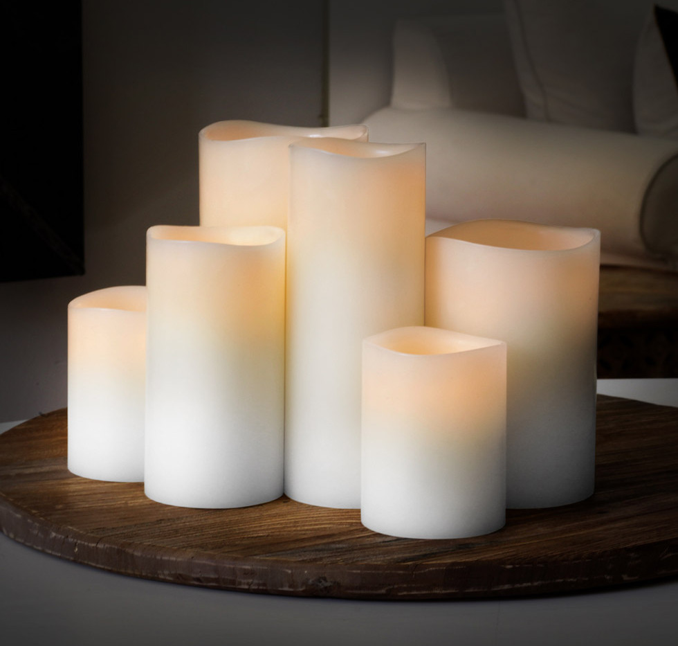 White LED Pillar Candles