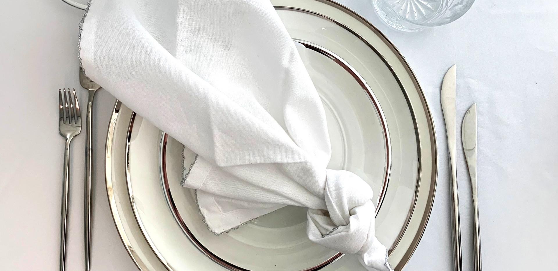 Hemstitched Napkins I White & Silver