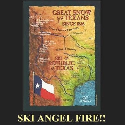 Republic of Texas Ski Map Tee- Ski Angel Fire