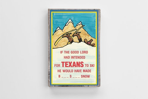 1950s Postcard art of a Texas Skier
