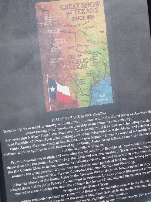 "18""x24"" Republic of Texas Ski Map w/History"