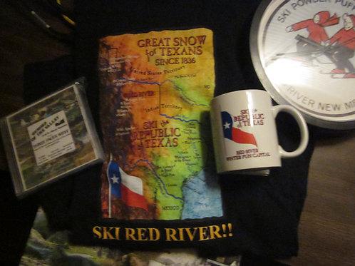 Combo-Republic of Texas Ski Map Tee and Mug- Ski Red River!!