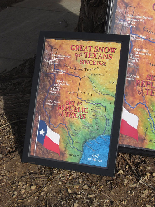 "16""x 24"" Republic of Texas Ski Map"