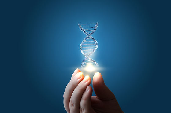DNA in hand on blue background concept d