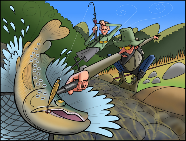 Trout Fishing Illustrator