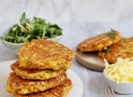 Cheezy Chickpea Corn Fritters