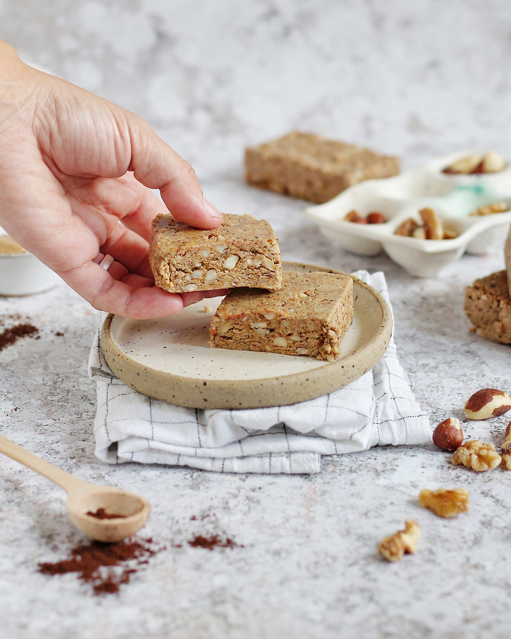 Homemade nut and coffee protein bars