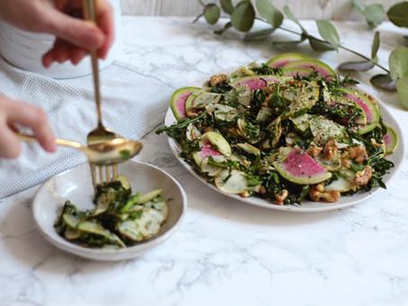 Jerusalem Artichoke Kale Salad With Lemony Herb Dressing