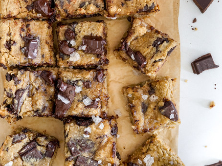 Salted Tahini Chickpea Blondies