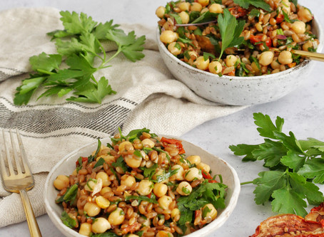 Rye Chickpea Salad with Miso Dressing