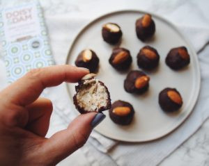 Chocolate Covered Coconut Almond Bites