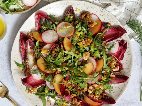 Chicory + Rye Salad with Plums