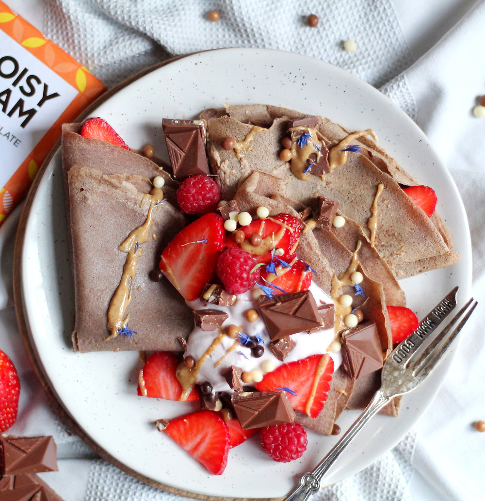 Buckwheat Chocolate Crepes with Almond Butter Filling