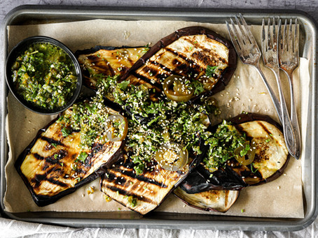 Grilled Eggplant with Jalapeño Chimichurri
