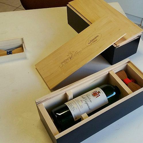 Coffret Nœud papillon en Bois et Grand Vin de Bordeaux