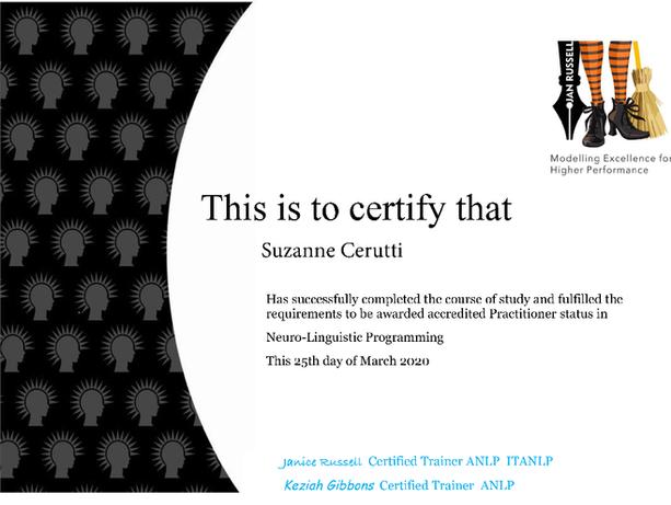 Practitioner Certificate Suzanne Cerutti