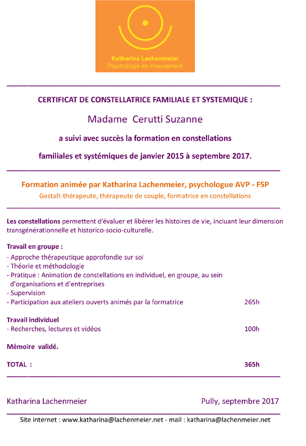 Certificat Constellations Familialles