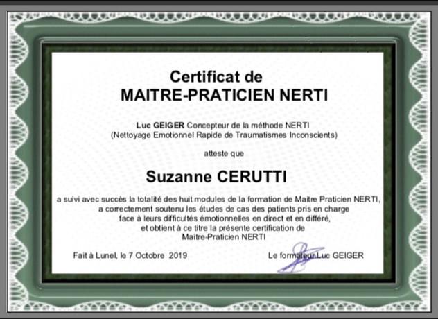 Certificat praticien Nerti