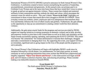 International Women of H.O.P.E        Annual Fundraiser Press Release