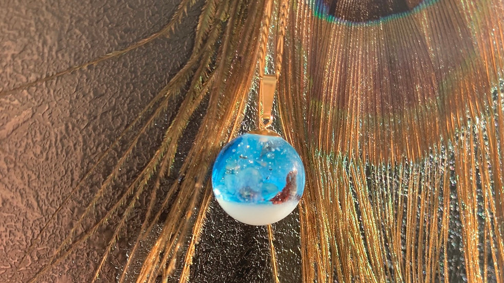 16mm Perle mit Muttermilch und Plazenta und Vergissmeinnicht - 9kt Öse