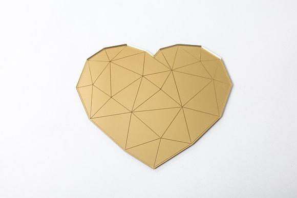 מראה לב גיאומטרי זהב