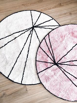 שטיח קווים -ורוד/לבן