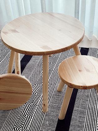 סט שולחן עץ מלא עגול עם שרפרים
