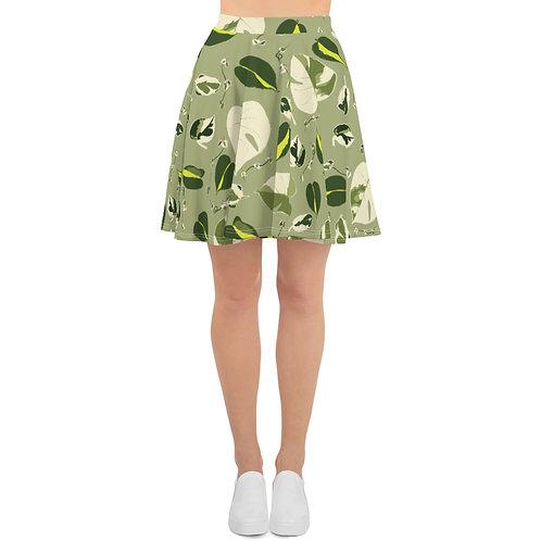 Variegated Houseplant Skater Skirt