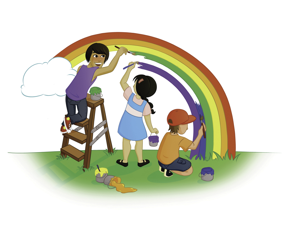 boys and girl painting rainbow