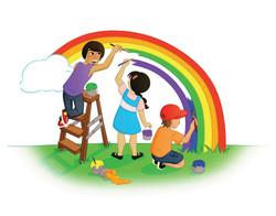 boys and girl painting rainbow