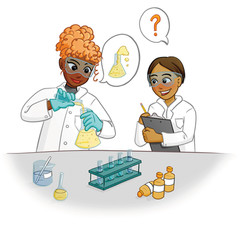 girl and boy doing science