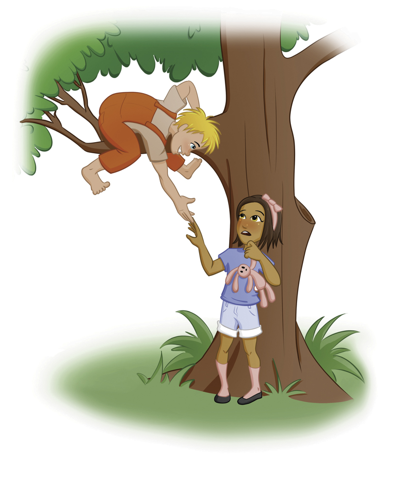 boy in tree holding out hand to girl