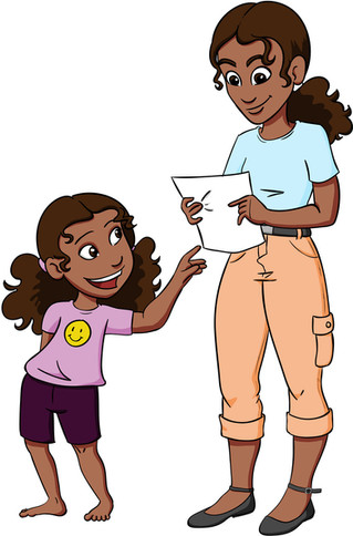 Anita and her mum from Millie the Mathematician