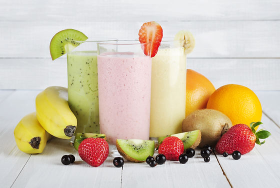Fruit smoothies with black currant, stra