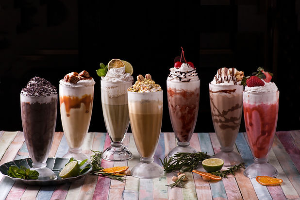 Different milkshakes assorted summer col