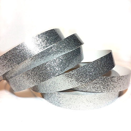 Metallic Silver Glitter Flake Taped Hoop