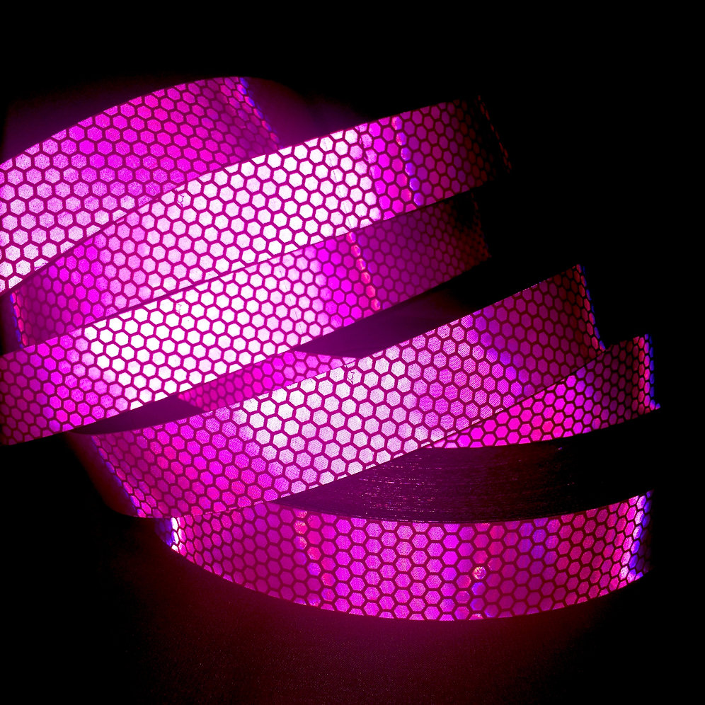 Hot Pink Honeycomb Reflective Taped Performance Hoop | misshoopsalot