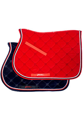 SC200TRI-Velvet Saddle Pad with Double Piping Trm,