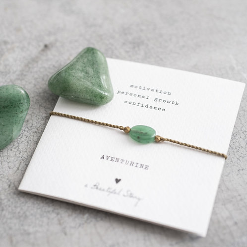 Gemstone Card Aventurine Gold Bracelet