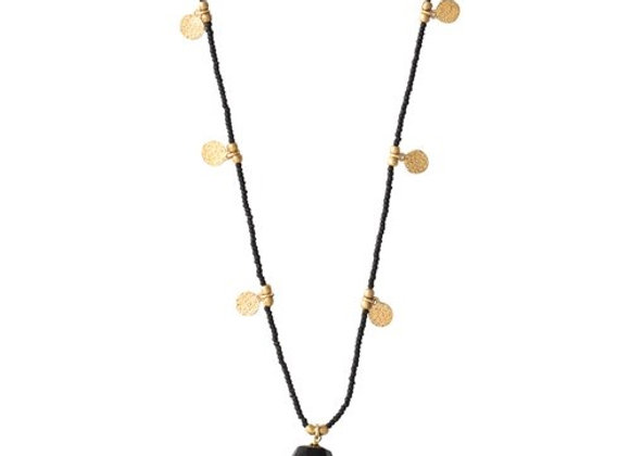 Charming Black Onyx Gold Necklace