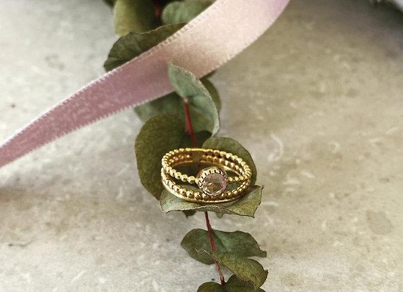 Ring vergoldet Rosenquarz G-R34