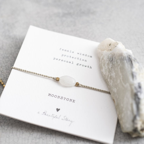 Gemstone Card Moonstone Gold Bracelet
