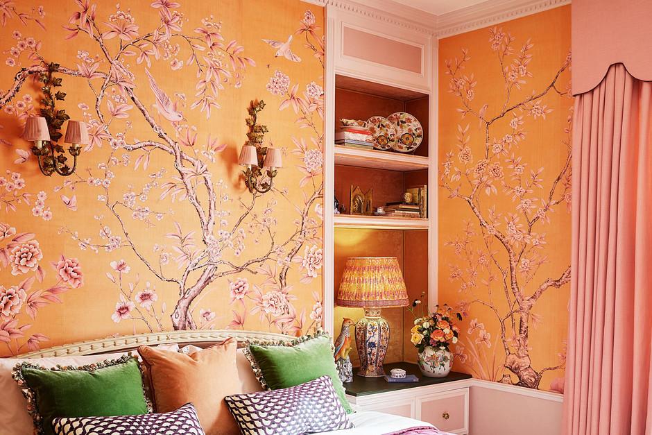 de gournay-askew custom design on pink dyed silk
