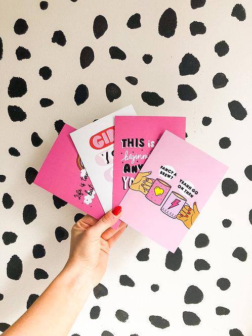Positivity Pink Postcard Pack