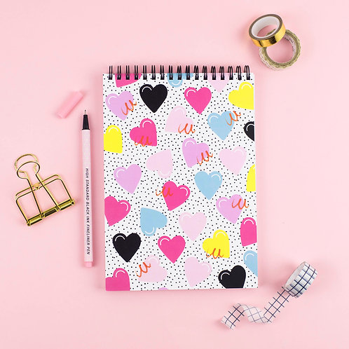 A5 Hearts Flip Notepad