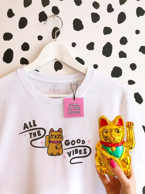 Lucky Cat Embroidered Tee