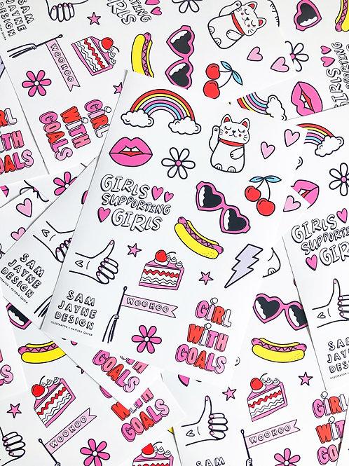 Cute and Colourful Vinyl Sticker Sheet