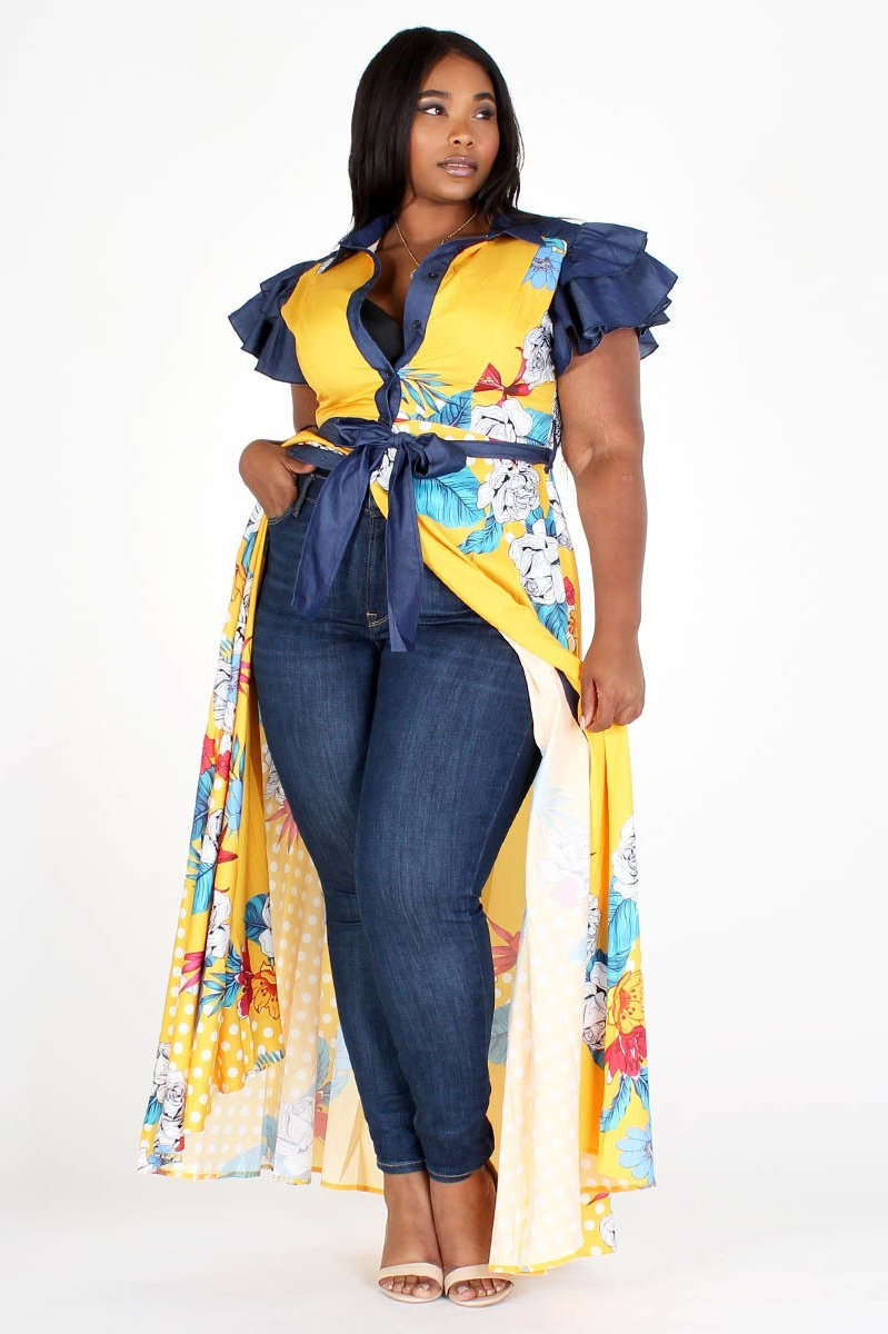 Style# 073097/curvaceous/denim and yellow