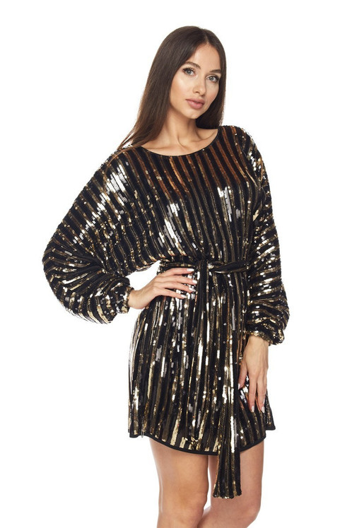 21188aa9b8c9 BLACK AND GOLD STRIPED SEQUIN DRESS WITH WAIST TIE